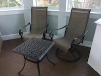 2 patio or porch chairs with table in great condition.  Never been outside.   34 km