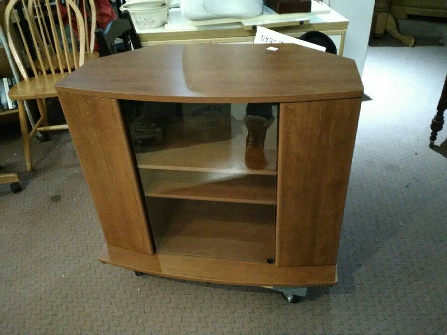 used brown wooden tv stand with display cabinet for sale in rh gb letgo com