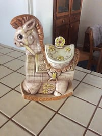Rare, 1960 Vintage  made in USA Treasure Craft Ceramic Rocking Horse Cookie  Jar, no chips or cracks Fremont, 94555