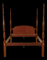 4 Poster Mahogany rice carved bed frame