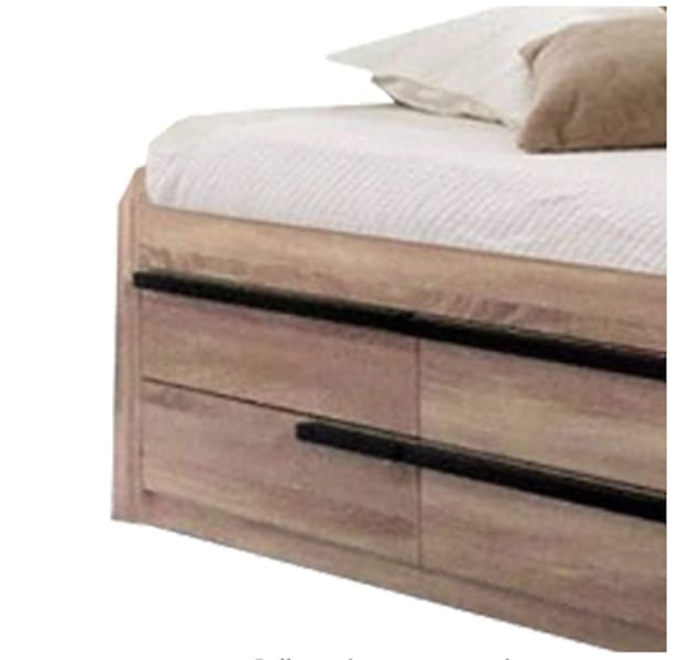 Full size captains bed with Storage Drawers, mattress, bedding bec45530-e02b-414b-9b7e-bfcd31bf46db