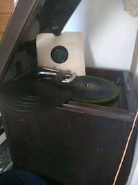Antique record player with records