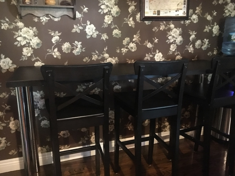 used black wooden dining table set chairs are 24 3 4 u201d table height rh gb letgo com