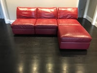 Red leather sectional 7 pieces including  ottoman Ajax, L1T 0L1