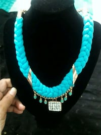 teal and black beaded necklace