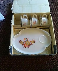 white-maroon-yellow-and-orange floral ceramic tea set in box Boise, 83705