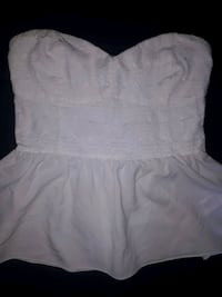 Large white formal strapless shirt  Simcoe