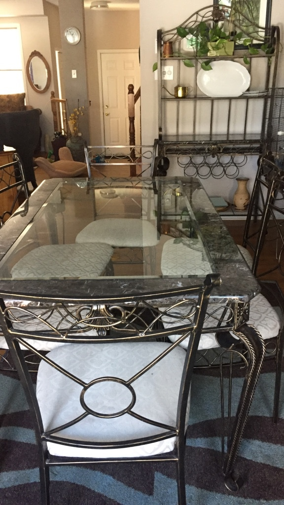 used rectangular grey metal framed and glass top table with 4 chairs rh gb letgo com