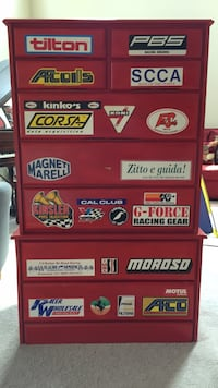 Red tool chest dresser