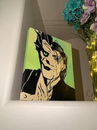 Wooden Canvas 8 x 10IN A bstract Joker Painting With Acrylics