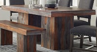 brown wooden table with cabinet ARLINGTON