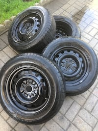 195/65/15 All season tires with steel rims barely used!