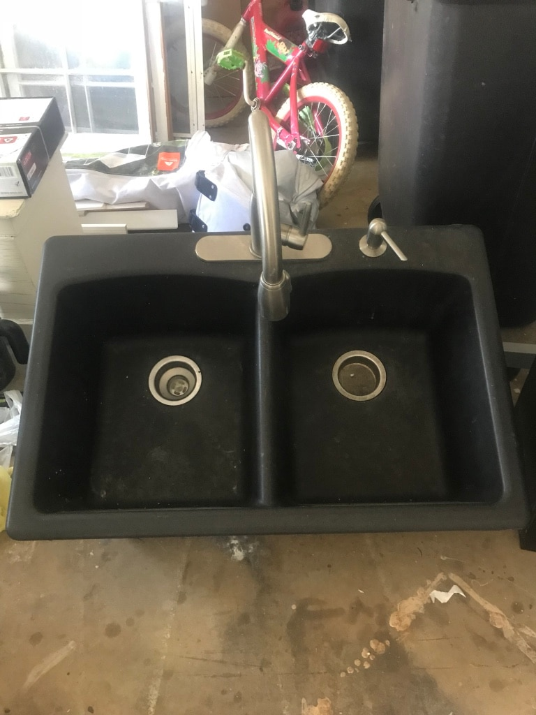 used acrylic black kitchen double sink with retractable faucet for rh gb letgo com