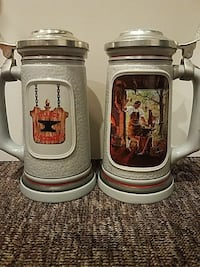 two white-and-gray ceramic steins Denver, 80211