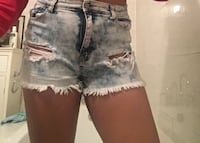 women's distressed acid-wash short shorts MONTREAL