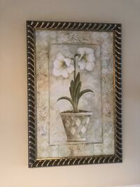 brown wooden framed painting of white petaled flowers Brampton, L7A 1H9