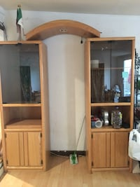 brown wooden framed glass display cabinet San Jose, 95116