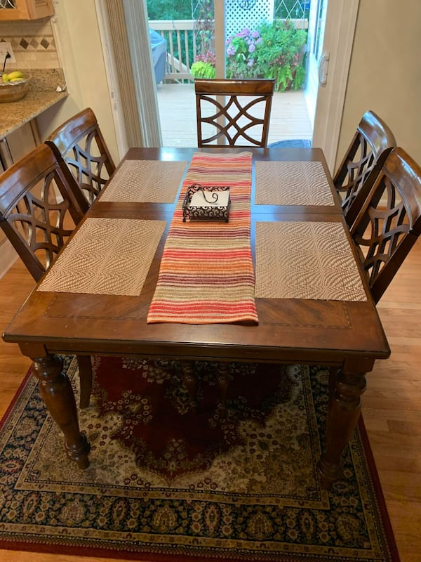 All Wooden Table and 6 chairs - FAIR CONDITION a244fef9-1479-4722-92d8-d67b3bfc757d