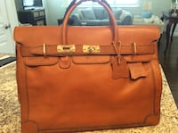 Genuine leather saddle brown Birkin style satchel bag