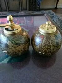 two brown globe print containers