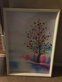 red and gray tree painting with frame