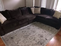 black suede sectional couch with throw pillows Barrington, 08007