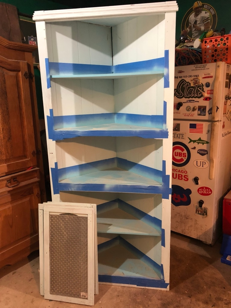 used corner cabinet with doors mostly finished needs paint for rh tr letgo com