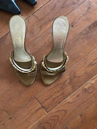 Pair of brown leather open toe ankle strap heels Montreal, H3W 1J8