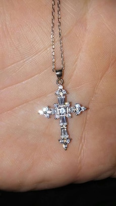 Crystal cross necklace new