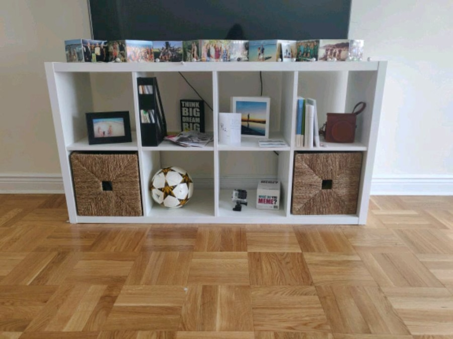 Storage TV Stand Furniture White With 2 Baskets