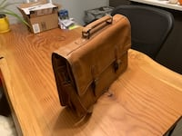 brown leather tote bag and long wallet Vancouver, V5Y 3T2