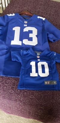 blue and white NFL jersey shirt