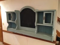 """Shabby Chic wall unit made from repurposed headboard.  Measures 76"""" long x 34""""tall x 9"""" wide.  Black center is a chalkboard"""