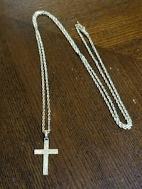 silver-colored cross pendant necklace Florence