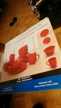 Brand new 16-piece dinnerware set (red)