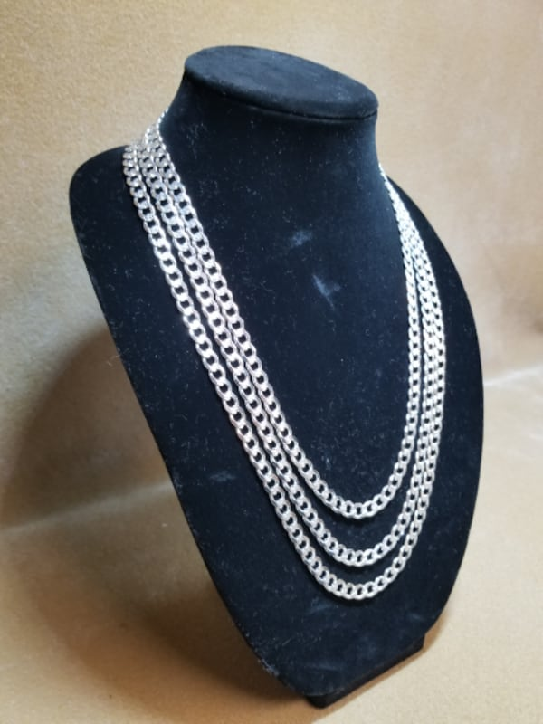 Cuban Curb Link Chain Diamond Cut Necklace .925 Sterling Silver 7mm 2
