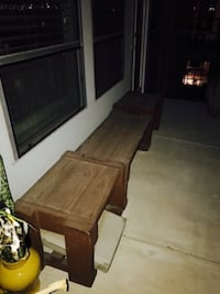 Set of 3 brown wooden bench