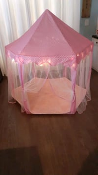 Princess tent with fairy lights.