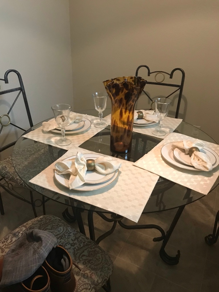 used rectangular glass top table with four chairs dining set for rh gb letgo com