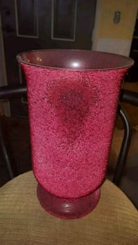 Large red glass vase with textured design.  Long Beach, 90802