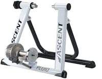 Ascent Fluid Indoor Bicycle Trainer & CycleOps Climbing Riser Shirley