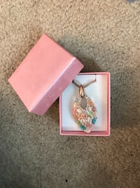 Rose gold necklace with multicolor pendent  Frederick, 21704