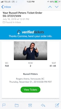 Russell Peters Vancouver - Floor Seats Row 2 Burnaby, V5C