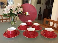 Christmas red and gold Chinese 12 piece set (6 cups and 6 saucers). Box opened but never used   Coral Gables, 33158