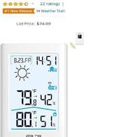 Weather Station, Indoor/Outdoor Thermometer Hygrometer NEW 1/3 PRICE