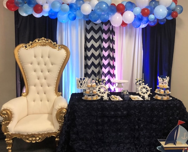 Used Throne Chair Rentals Party Decoration Table Drapes Balloons