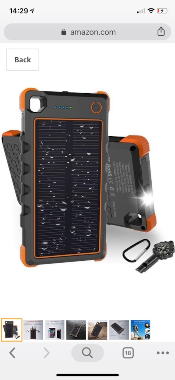 Brand New In Box [Quick Charge] 13500mAh Solar Charger, Hobest Portable  Charger with Dual Output Type C & Micro USB, IP67 Waterproof Outdoor Solar
