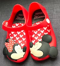 toddler's red-and-black Mickey and Minnie Mouse rubber flats
