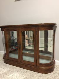 brown wooden framed glass display cabinet Dumfries