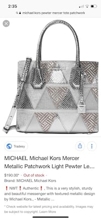MICHAEL KORS mercer tote pewter/silver ,patchwork